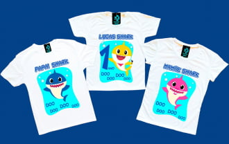 kit 3 camisetas Baby Shark aniversario